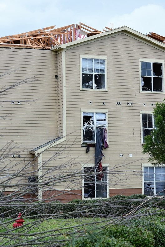 Many homes and buildings were damaged in Jacksonville. (Wynter Byrd / Alabama NewsCenter)