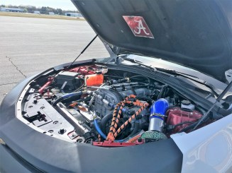 Students had to get their hands dirty to transform this Camaro into an EcoCAR. (Anna Catherine Roberson/Alabama NewsCenter)