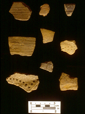 Shell-tempered pottery of the Pensacola culture. (From Encyclopedia of Alabama, courtesy of Ian Brown, University of Alabama Museums)