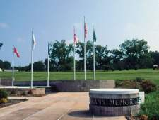 The Veterans Memorial Park in Elba, Coffee County, honors the county's veterans of all five branches of the U.S. armed services. (From Encyclopedia of Alabama, courtesy of Alabama Tourism Department)