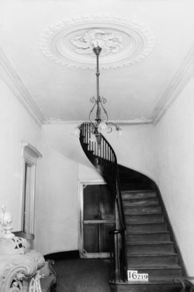 Magnolia Grove, view of the stairwell, 1934. (Photograph by Alex Bush, HABS, Library of Congress Prints and Photographs Division)