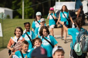 Children attending the Junior Clinic receive gifts from Alabama Power. (Chris Jones/Alabama NewsCenter)