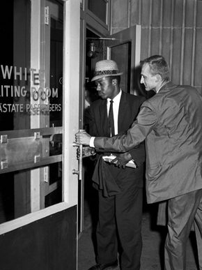 Freedom Riders Jim Zwerg, right, and Paul Brooks entering the Birmingham Greyhound Station in May 1961. The men were arrested for sitting together in the front of the bus as they entered Birmingham city limits on May 16, 1961. (From Encyclopedia of Alabama, courtesy of The Birmingham News)