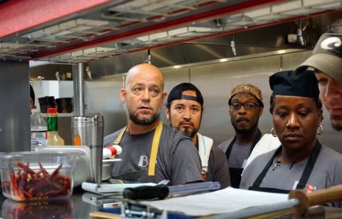 Chef James Huckabee leading staff training at Blueprint on 3rd June 7. (Erin Harney/ Alabama NewsCenter)