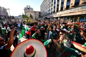 Mexican fans celebrate after winning hosting rights for the 2026 FIFA World Cup in conjunction with the United States and Canada on June 13 in Moscow, Russia. (Hector Vivas/Getty Images )