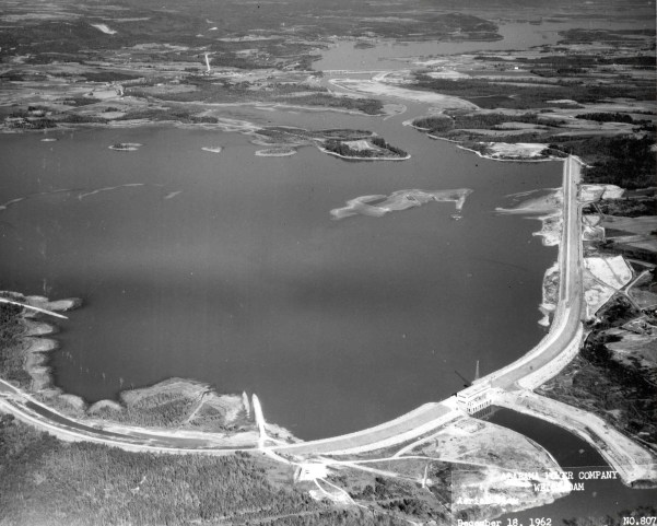 Aerial view of Weiss Dam and Lake, 1962. (Alabama Power Company Archives)