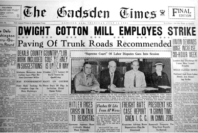 The July 12, 1934 textile workers strike at the Dwight Cotton Mill was the first in a string of strikes that led to the largest labor conflict in U.S. history. (From Encyclopedia of Alabama, courtesy of the Alabama Department of Archives and History)