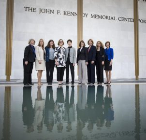 From left, astronauts Pam Melroy; Kay Hire; Cady Coleman; Kathy Sullivan; Tam O'Shaughnessy, Sally Ride's life partner and chair, board of directors of Sally Ride Science; astronauts Bonnie Dunbar; Sandy Magnus; Julie Payette; and Ellen Ochoa, pose for a photograph before a National Tribute to Sally Ride at the John F. Kennedy Center for the Performing Arts, Monday, May 20, 2013 in Washington. (NASA/Bill Ingalls)