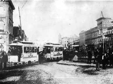 In 1886 Montgomery became the first U.S. city to initiate an electric street car system, the Capital City Street Railway Co. (From Encyclopedia of Alabama, courtesy of Alabama Department of Archives and History)