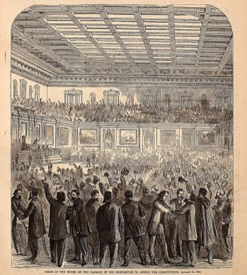 Harper's Weekly illustration depicting celebration in the House of Representatives after adoption of the Thirteenth Amendment. (Printed in Harper's Weekly on Feb. 18, 1865; Wikipedia)