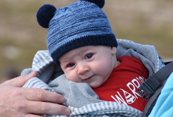 Dawson Prater, 2 1/2 months, is on hand for the sendoff of the Thompson Warriors. (Solomon Crenshaw Jr./Alabama NewsCenter)