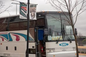 The bus that's carrying UAB Coach Bill Clark and football players to Boca Raton. (Brittany Faush)