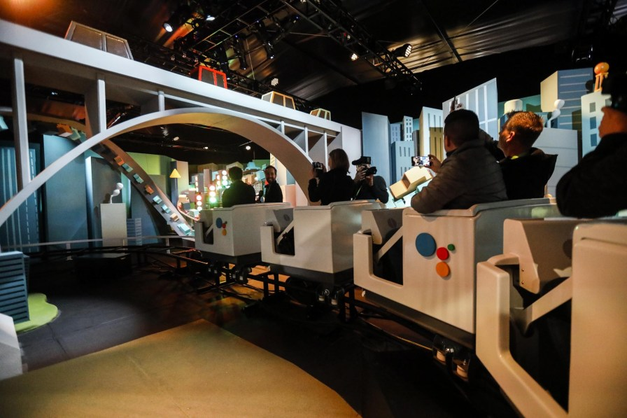 The Google Assistant Ride carts passengers around the event. (Patrick T. Fallon/Bloomberg)