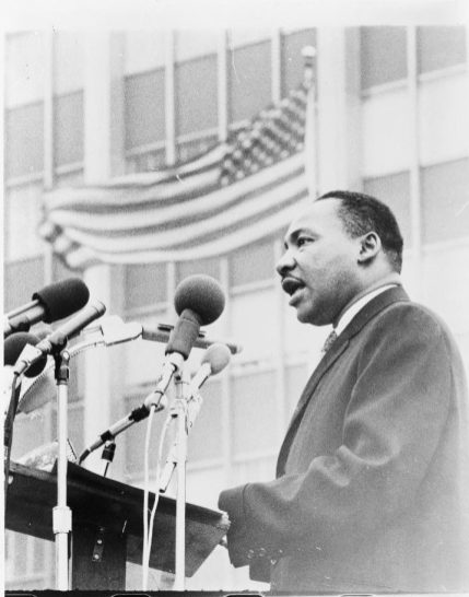 Martin Luther King Jr., speaking at an anti-war demonstration, New York City, 1967. (Photo by Don Rice, World Journal Tribune, Library of Congress, Prints and Photographs Division)