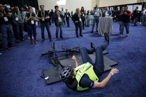 The Helite B-Safe air bag vest for cyclists is demonstrated during the CES Unveiled event. (Patrick T. Fallon/Bloomberg)