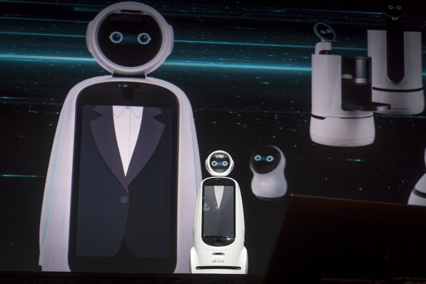 The LG CLOi robot during the company's keynote event. (David Paul Morris/Bloomberg)