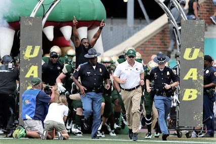 UAB takes the field for its game vs. Alabama A&M at Legion Field on Sept. 2. The season turned out to be the best ever for the Blazers, with an 11-3 record, a C-USA conference championship and its first bowl win. (Zach Bland/UAB Athletics)