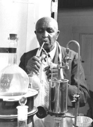 Carver works in his lab at Tuskegee Institute. Best known for developing hundreds of products from the peanut, Carver also worked extensively with other foods, including sweet potatoes. (USDA History Collection, Special Collection, National Agricultural Library, Wikipedia)