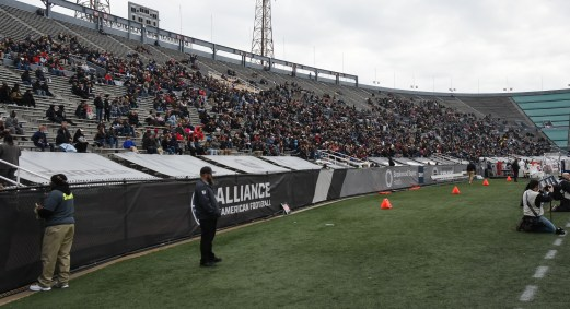 The Birmingham Iron's opener at Legion Field drew 17,039 fans, but, as Head Coach Tim Lewis observed, it sounded like more. (Solomon Crenshaw Jr./Alabama NewsCenter)