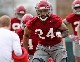 Terrell Lewis participates in Alabama's spring practice Friday. (Noah Sutton/UA Athletics)