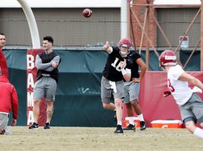 Mac Jones passes during Alabama's spring practice Friday. (Noah Sutton/UA Athletics)
