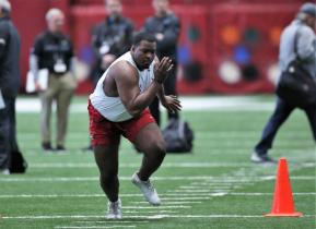 Josh Casher participates in Alabama Crimson Tide Pro Day (Kent Gidley/UA Athletics)