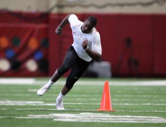 Jamey Mosley participates in Alabama Crimson Tide Pro Day (Kent Gidley/UA Athletics)