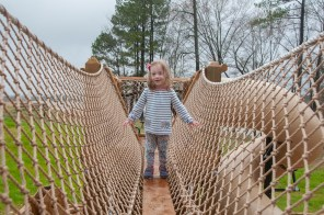 A young visitor tries out the new playground at Double Cove, Logan Martin Lake. The project is part of a series of improvements planned for Alabama Power's lakes throughout the state. (Billy Brown/Shorelines)