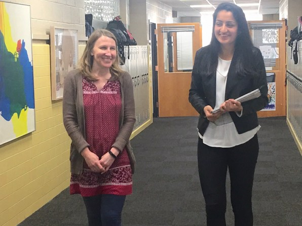 Julie Beckwith, left, director of communications at The Altamont School in Birmingham, said Altamont senior Amrita Lakhanpal, right, is an inspiration to students and teachers alike. (Karim Shamsi-Basha/Alabama NewsCenter)