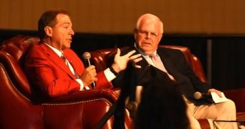 Nick Saban answers a question as Eli Gold looks on. (Solomon Crenshaw Jr./Alabama NewsCenter)