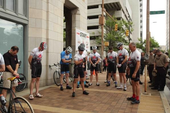The Power Pedalers prepare to depart from Alabama Power headquarters. (Meg McKinney/Alabama NewsCenter)