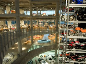 The interior display areas of the Barber Vintage Motorsports Museum span five stories and contain hundreds of motorcycles and dozens of racecars. (From Encyclopedia of Alabama, courtesy of Barber Vintage Motorsports Museum)
