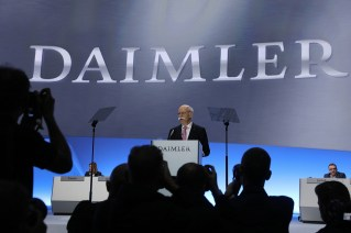 Dieter Zetsche addresses Daimler's AGM in Berlin. (Krisztian Bocsi/Bloomberg)