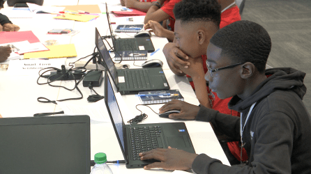 Seventh graders from W.J. Christian School in Birmingham participate in a Hackathon sponsored by the Birmingham chapter of the American Association of Blacks in Energy at Alabama Power's Energy Center in Hoover on Thursday, May 9, 2019. (Dennis Washington / Alabama NewsCenter)