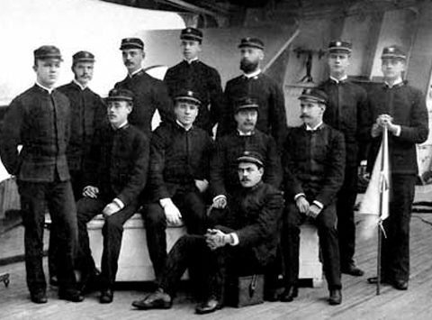 Naval Cadet Richmond Hobson, second from right, poses with fellow cadets and junior officers on the USS Chicago, flagship of the Squadron of Evolution, in 1889. (From Encyclopedia of Alabama, courtesy of the U.S. Navy)