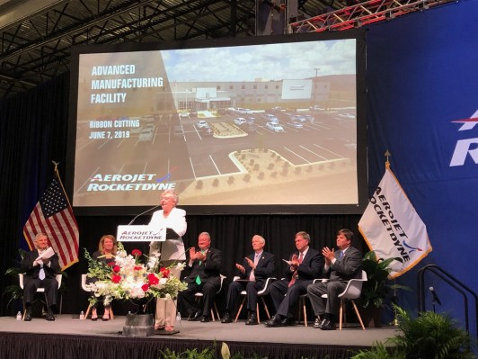 Gov. Kay Ivey speaks at a ribbon-cutting ceremony for the Aerojet Rocketdyne advanced manufacturing facility in Huntsville. (Aerojet Rocketdyne)