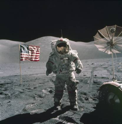 An astronaut walks on the moon during the Apollo 17 mission. (NASA)