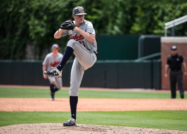 Richard Fitts (43) pitches in Auburn's win over North Carolina. (Cat Wofford/Auburn Athletics)
