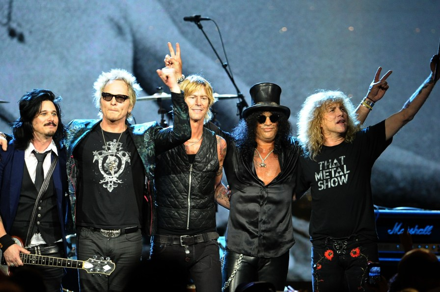 Gilbert Clarke, Matt Sorum, Duff McKagan, Slash and Steven Adler of Guns N' Roses during the 27th Annual Rock And Roll Hall of Fame Induction Ceremony at Public Hall on April 14, 2012 in Cleveland, Ohio. (Photo by Michael Loccisano/Getty Images)