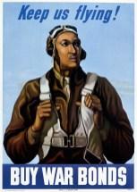 War bonds poster featuring the Tuskegee Airmen, 1943. (Darwinek, Wikipedia)