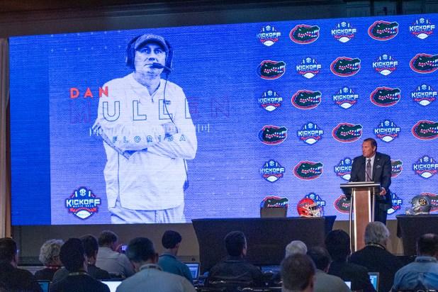 Florida coach Dan Mullen speaks at SEC Media Days. (Dennis Washington / Alabama NewsCenter)