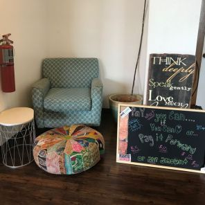 Encouraging sayings abound at WE Cafe in this cozy setting. (Keisa Sharpe)