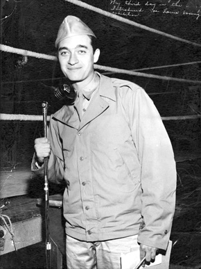 """Broadcaster Mel Allen served in the U.S. Army from 1943 to 1946 during World War II, hosting the """"Army Hour"""" radio show. Later in his career, Allen entertained troops stationed overseas. (From Encyclopedia of Alabama, courtesy of W.S. Hoole Special Collections Library, The University of Alabama Libraries)"""
