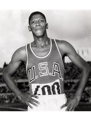Tuscaloosa native Otis Davis shortly after winning the gold medal and setting the world record in the 400-meter race at the 1960 Olympics in Rome, Italy. (From Encyclopedia of Alabama, courtesy of University of Oregon Libraries)