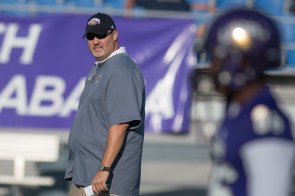 Coaching the UNA Lions through the transition to Division I is a tough job because making the playoffs isn't an option, but Chris Willis is working to keep his team motivated. (University of North Alabama Athletics)