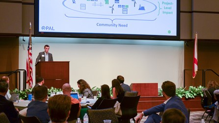 Alex Flachsbart, founder and CEO of Opportunity Alabama, speaks last year at a summit about taking advantage of Opportunity Zones in the state. (Michael Tomberlin/Alabama NewsCenter)