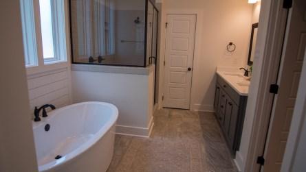 The master bathroom of the model home. (Dennis Washington / Alabama NewsCenter)