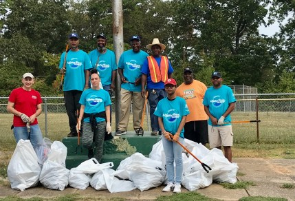 Volunteers filled many bags with trash at five sites along Valley Creek, including Willie Mays Park in Fairfield. (Michael Sznajderman/Alabama NewsCenter)