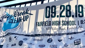 Volunteers from Fairfield High School participated in the Valley Creek cleanup. (Michael Sznajderman/Alabama NewsCenter)