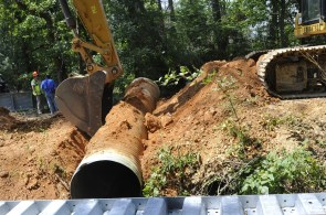 Old Culverts on St. Clair County's Little Canoe Creek are removed to make way for a bridge. (Karim Shamsi-Basha/Alabama NewsCenter)